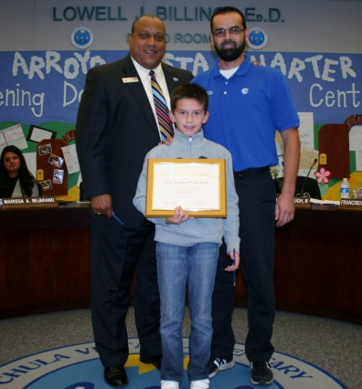 Carlos Enrique De La Torre from Juarez-Lincoln Elementary was honored at the November Board of Education meeting.