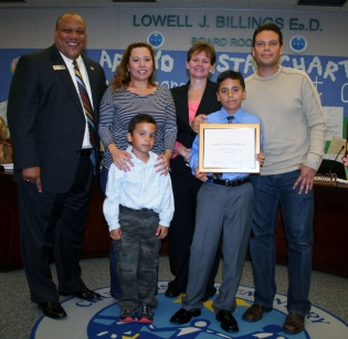 Ruben A. Ramos of Casillas Elementary was honored at the November Board of Education meeting.
