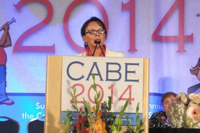 Emma Sanchez, executive director of Language Acquisition and Development, at CABE 2014 annual conference.