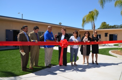 Feaster Principal Francisco J. Velasco, Superintendent Franciso Escobedo, Ed.D., Board Member Douglas Luffborough III, Mayor Cheryl Cox, and Council Member Mary Salas were among the dignitaries who celebrated Feaster Charter Middle Academy.