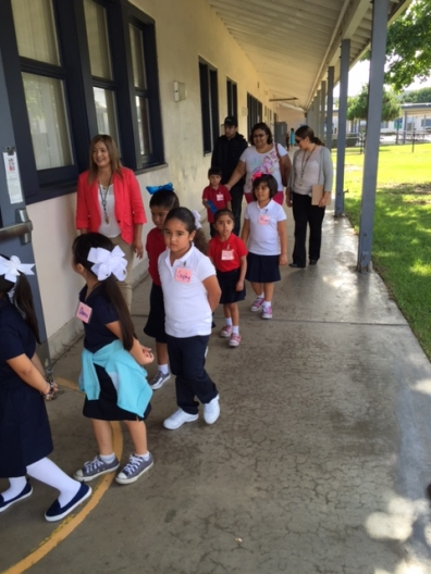 Harborside kindergarten students start their first day of school.