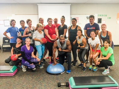 FIT TO LEARN: Fitness trainer Mike Cothrine (bottom row, center) says CVESD employees have developed a great synergy and camaraderie in reaching fitness goals.